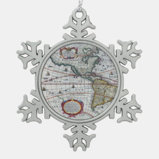 Old America Maps Snowflake Pewter Christmas Ornament