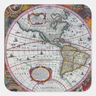 Old America Maps Square Sticker