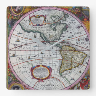 Old America Maps Square Wall Clock