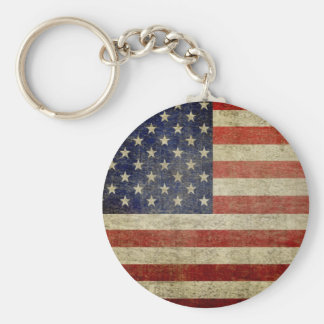 Old American Flag Basic Round Button Key Ring