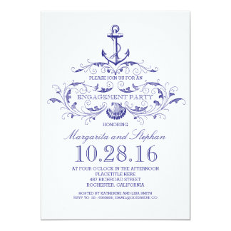 old anchor nautical engagement party invite