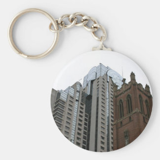 Old And New Buildings With Beautiful Head Of Glass Key Chains