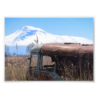 Old and rusty bus with mt. Ararat Photo Print