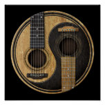Old and Worn Acoustic Guitars Yin Yang Poster