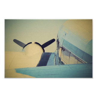 Old Antique Airplane Blue Poster