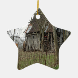 Old Antique Barn Ceramic Star Decoration