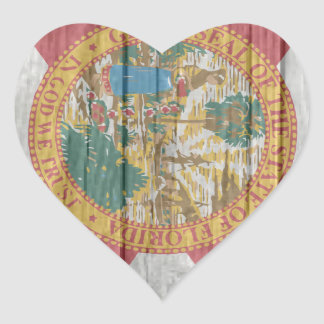 Old antique faded wood Florida Flag Heart Sticker