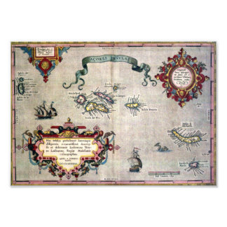 Old Antique Map of the Azores from 1584 replica Photographic Print