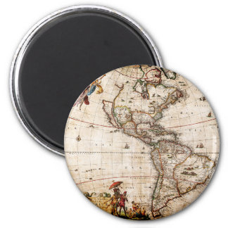 Old Antique North & South America Map Magnet