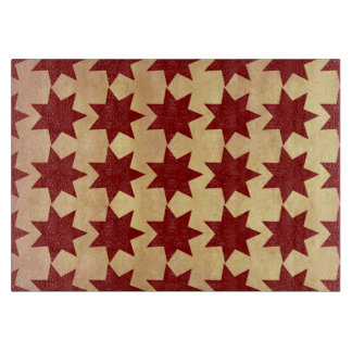 Old Antique Paper Red Quilt Stars Primitive Theme Cutting Board