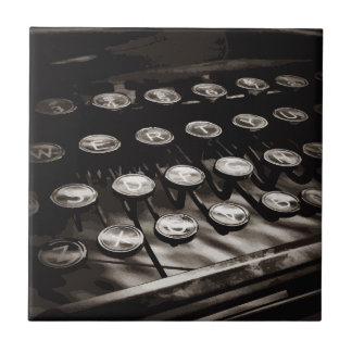 Old Antique Typewriter Keys Black White Ceramic Tile