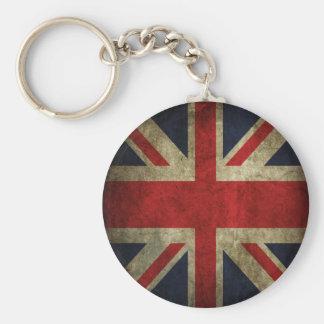 Old Antique UK British Union Jack Flag Basic Round Button Key Ring