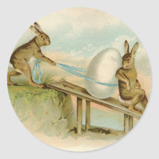 Old Antique Vintage Happy Easter rabbits and egg Round Sticker