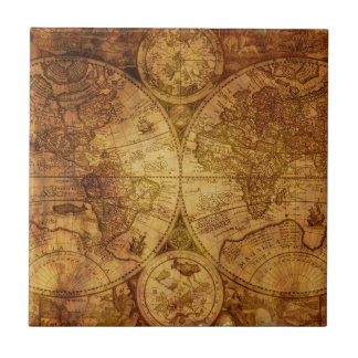 Old Antique World Map Historical Ceramic Tile
