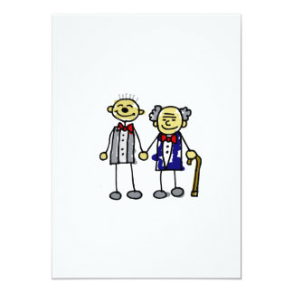 "Old Asian Gay Couple 5"" X 7"" Invitation Card"