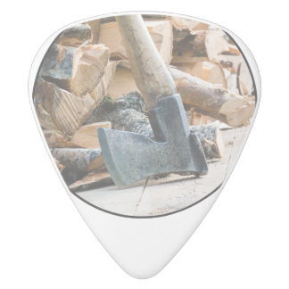 Old axe and firewood white delrin guitar pick
