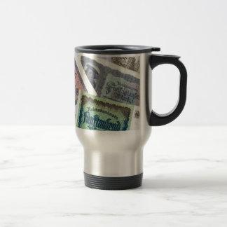 Old banknodes stainless steel travel mug
