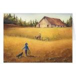 OLD BARN, APPALOOSA BOY & DOG by SHARON SHARPE Stationery Note Card