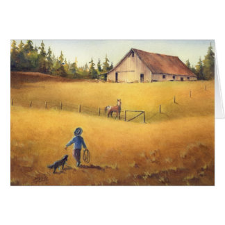OLD BARN, APPALOOSA BOY & DOG by SHARON SHARPE Card