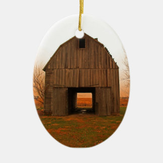 old barn ceramic ornament
