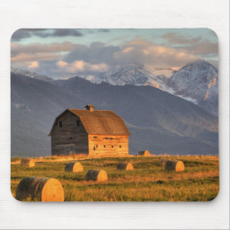 Old barn framed by hay bales and dramatic mouse pad