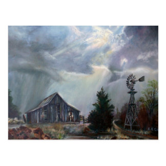 Old Barn In A Texas Thunderstorm Greeting Cards