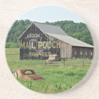 Old Barn Mail Pouch Tobacco Advertising Drink Coaster