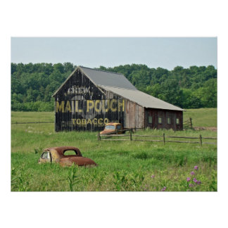Old Barn Mail Pouch Tobacco Advertising Poster