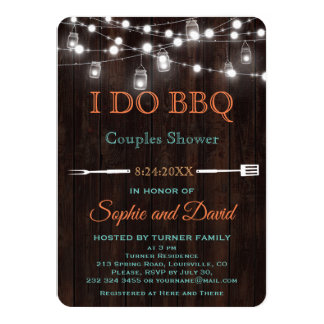 Old Barn Mason Jar String Lights Couples Shower Card