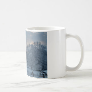 Old Barn on Snow Covered Hillside Coffee Mug
