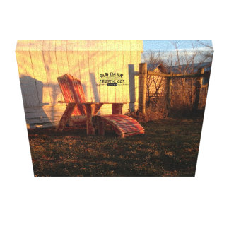 Old Barn Rustic Co. Rustic Adirondack Chair Sunset Canvas Print