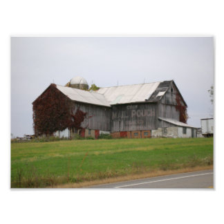 Old Barn with Mail Pouch Ad Photographic Print