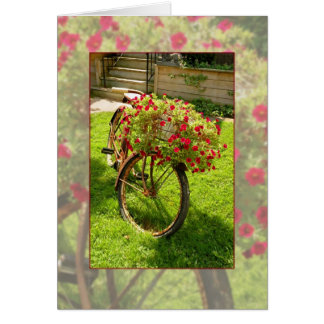 Old Bicycle Recycled into Red Flower Planter Card