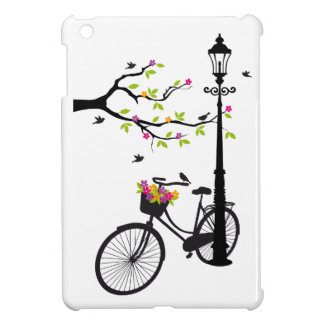Old bicycle with lamp, flower basket, birds, tree case for the iPad mini