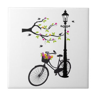 Old bicycle with lamp, flower basket, birds, tree small square tile