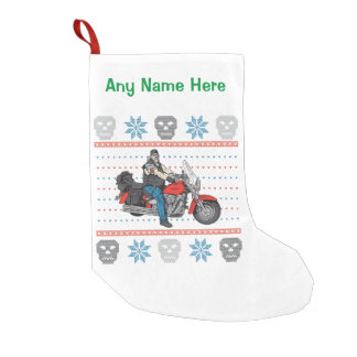 Old Biker Skulls Motorcycle Ugly Christmas Sweater Small Christmas Stocking