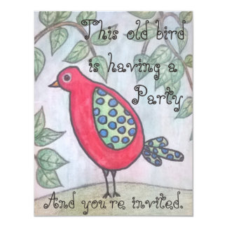 Old bird's party invitation