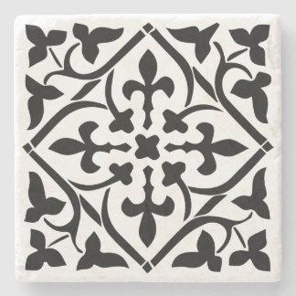Old Black Medieval Marble Stone Coaster