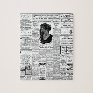 Old black & white newspaper, vintage retro advert jigsaw puzzle