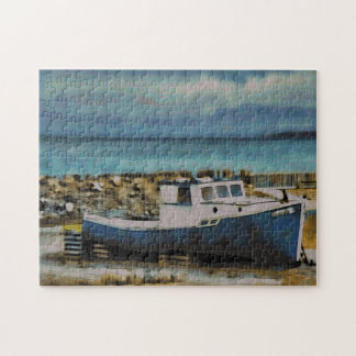 Old Blue Abandoned Boat In Newfoundland Jigsaw Puzzle