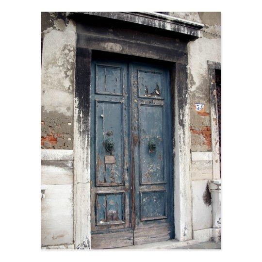 old blue door postcard