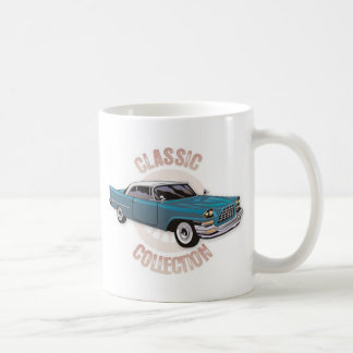 Old blue vintage car with white hardtop roof coffee mug