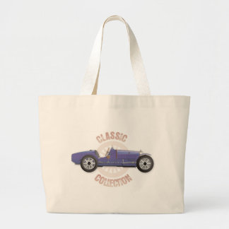 Old blue vintage racing car used on the track tote bag
