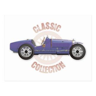 Old blue vintage racing car used on the track postcard