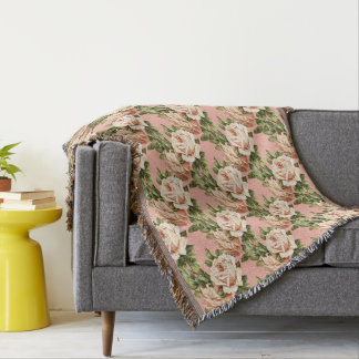 Old Blush Roses Vintage Colors Throw Blanket