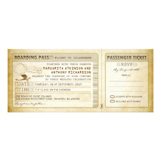 old boarding pass wedding tickets-invites rsvp