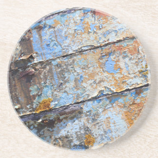 Old boat blue cracked texture coaster