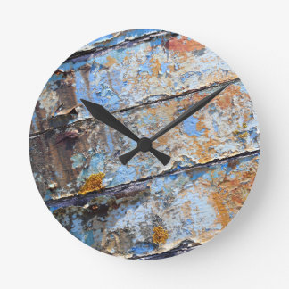 Old boat blue cracked texture round clock