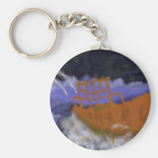 Old Boat in Storm Art Key Ring