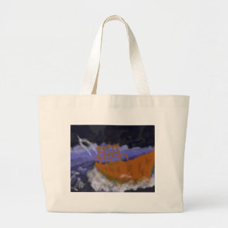 Old Boat in Storm Art Large Tote Bag